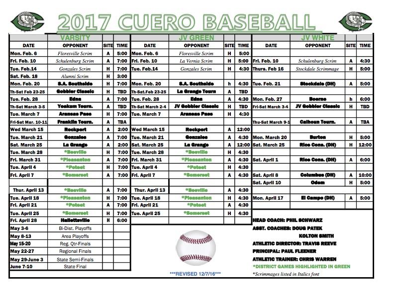 2017 gobbler baseball schedule